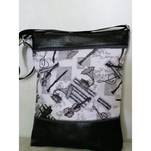 Fekete-fehér mintás női táska - hangszerek
